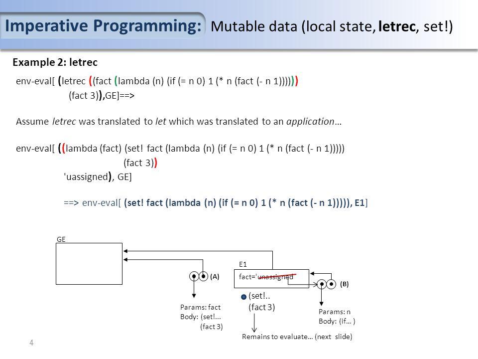 Example 2: letrec env-eval[ ( letrec ( (fact ( lambda (n) (if (= n 0) 1 (* n (fact (- n 1)))) )) (fact 3) ),GE]==> Assume letrec was translated to let