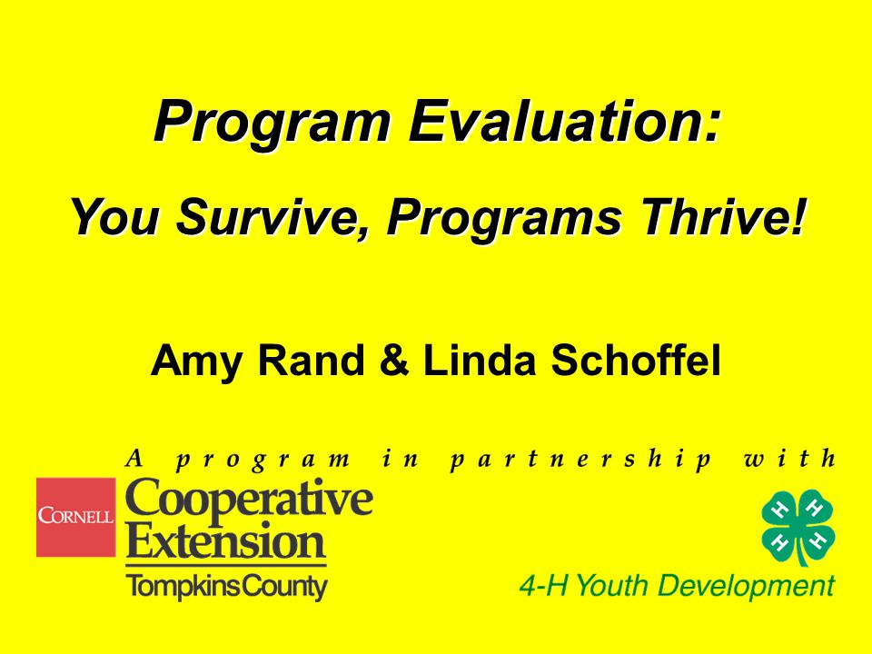 Program Evaluation: You Survive, Programs Thrive! Amy Rand & Linda Schoffel