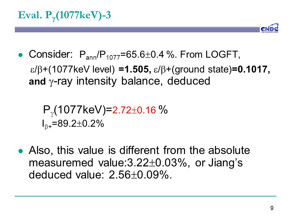 9 Eval. P  (1077keV)-3 Consider: P ann /P 1077 =65.6  0.4 %. From LOGFT,  /  +(1077keV level) =1.505,  /  +(ground state)=0.1017, and  -ray int