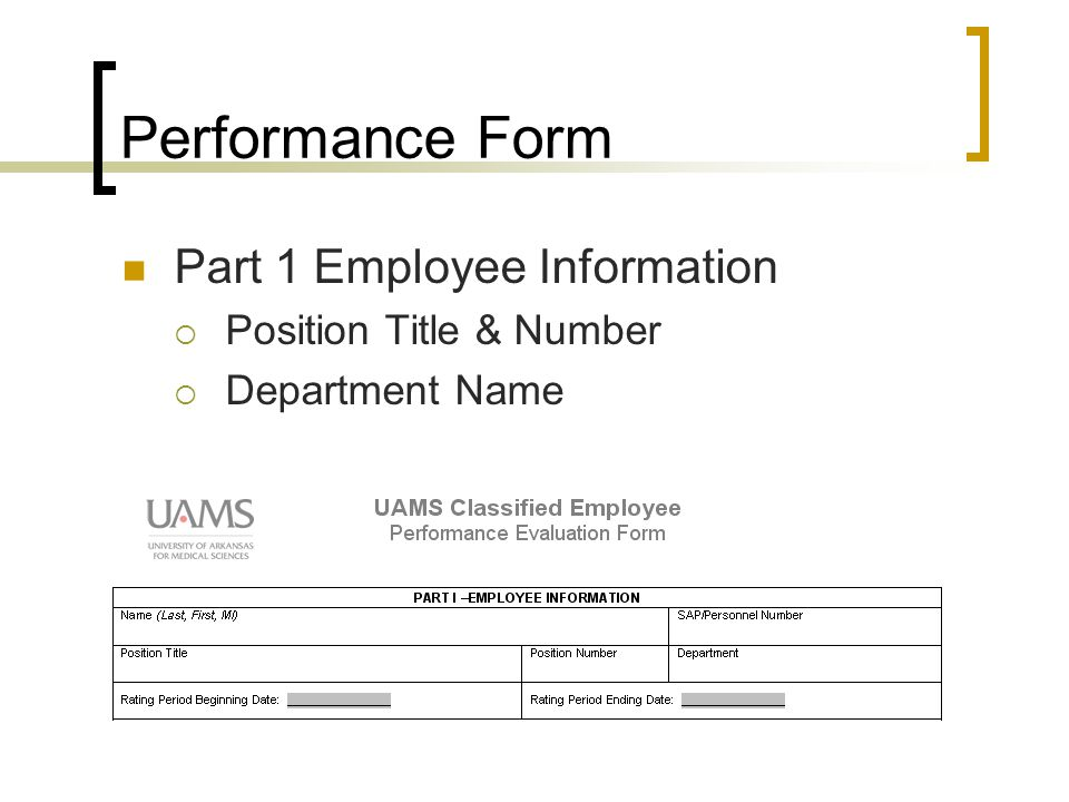 Performance Form Part 1 Employee Information  Position Title & Number  Department Name