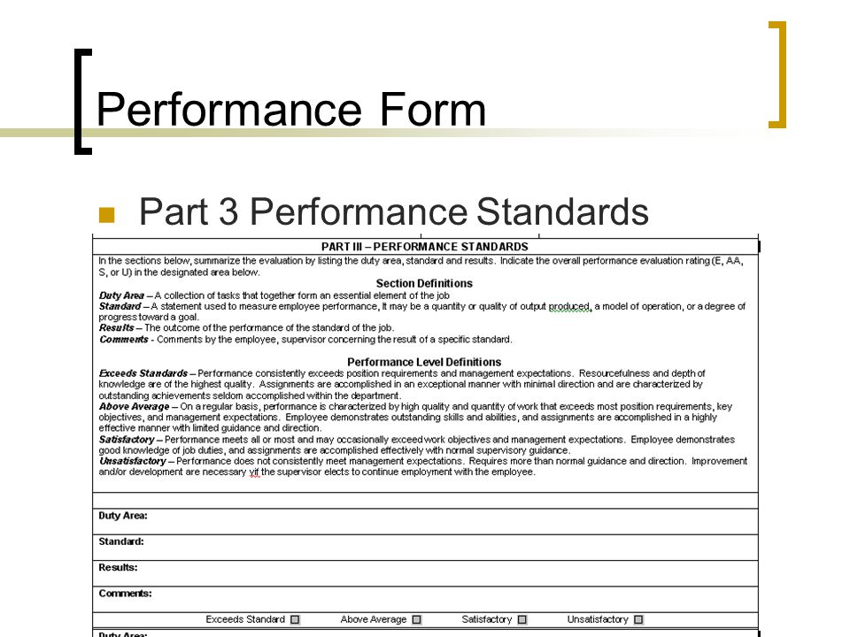 Performance Form Part 3 Performance Standards