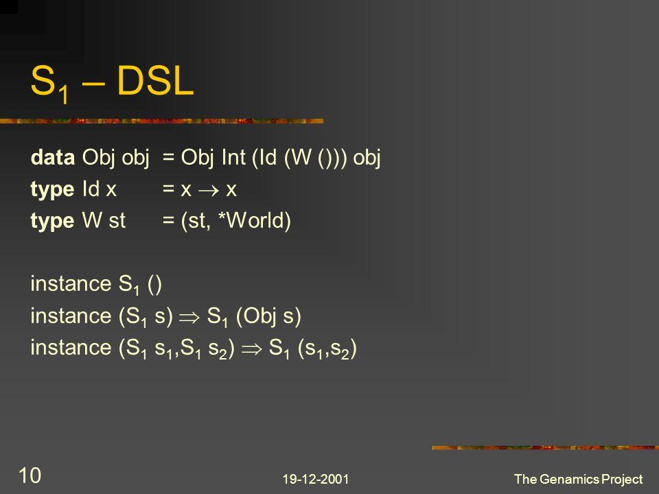 19-12-2001The Genamics Project 10 S 1 – DSL data Obj obj= Obj Int (Id (W ())) obj type Id x= x  x type W st= (st, *World) instance S 1 () instance (S 1 s)  S 1 (Obj s) instance (S 1 s 1,S 1 s 2 )  S 1 (s 1,s 2 )