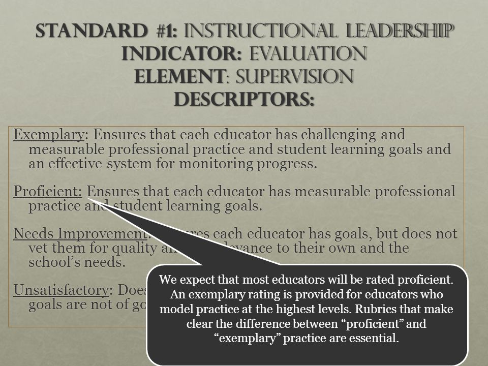 10 Standard #1: Instructional Leadership Indicator: Evaluation Element : Supervision Descriptors: Exemplary: Ensures that each educator has challenging and measurable professional practice and student learning goals and an effective system for monitoring progress.