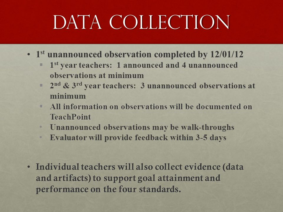 Data Collection 1 st unannounced observation completed by 12/01/12   1 st year teachers: 1 announced and 4 unannounced observations at minimum   2 nd & 3 rd year teachers: 3 unannounced observations at minimum  All information on observations will be documented on TeachPoint Unannounced observations may be walk-throughs Evaluator will provide feedback within 3-5 days Individual teachers will also collect evidence (data and artifacts) to support goal attainment and performance on the four standards.