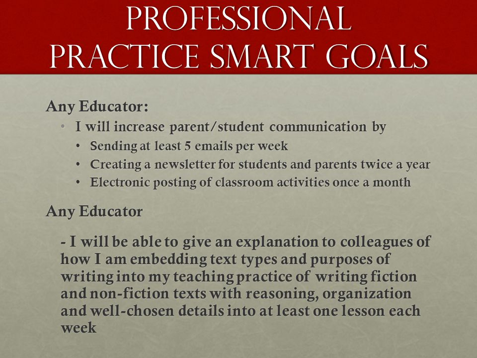 Professional practice Smart Goals Any Educator: I will increase parent/student communication by I will increase parent/student communication by Sending at least 5 emails per week Sending at least 5 emails per week Creating a newsletter for students and parents twice a year Creating a newsletter for students and parents twice a year Electronic posting of classroom activities once a month Electronic posting of classroom activities once a month Any Educator - I will be able to give an explanation to colleagues of how I am embedding text types and purposes of writing into my teaching practice of writing fiction and non-fiction texts with reasoning, organization and well-chosen details into at least one lesson each week