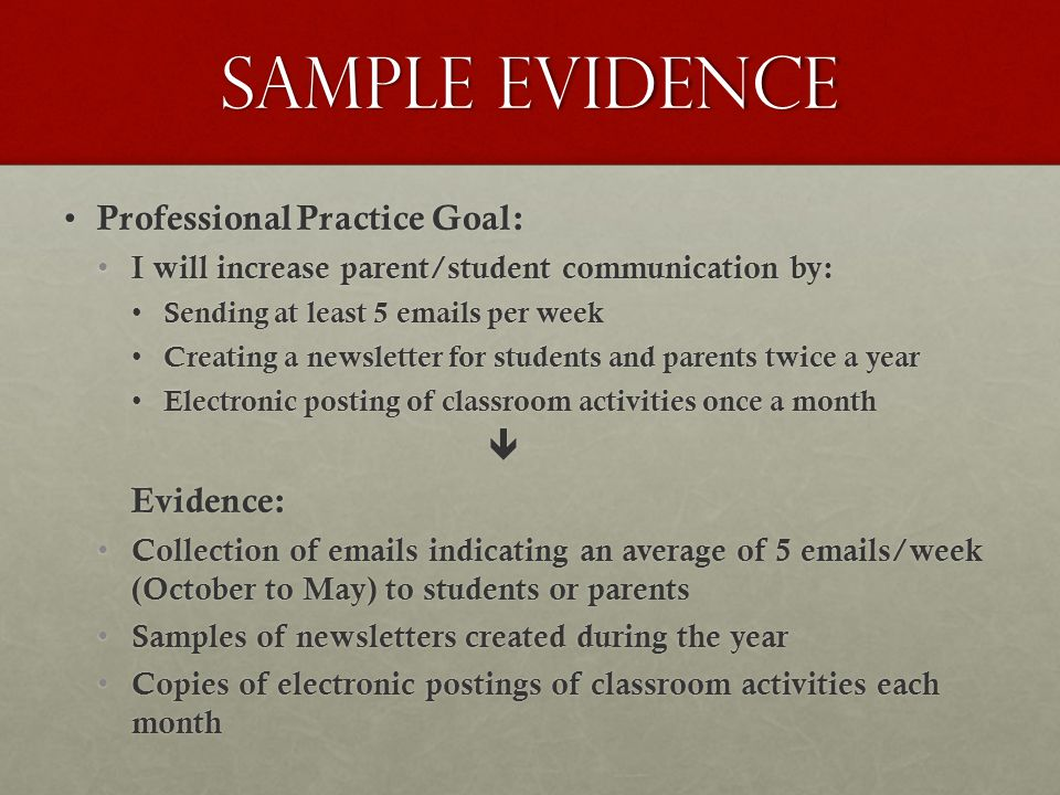 Sample Evidence Professional Practice Goal: Professional Practice Goal: I will increase parent/student communication by: I will increase parent/student communication by: Sending at least 5 emails per week Sending at least 5 emails per week Creating a newsletter for students and parents twice a year Creating a newsletter for students and parents twice a year Electronic posting of classroom activities once a month Electronic posting of classroom activities once a monthEvidence: Collection of emails indicating an average of 5 emails/week (October to May) to students or parents Collection of emails indicating an average of 5 emails/week (October to May) to students or parents Samples of newsletters created during the year Samples of newsletters created during the year Copies of electronic postings of classroom activities each month Copies of electronic postings of classroom activities each month