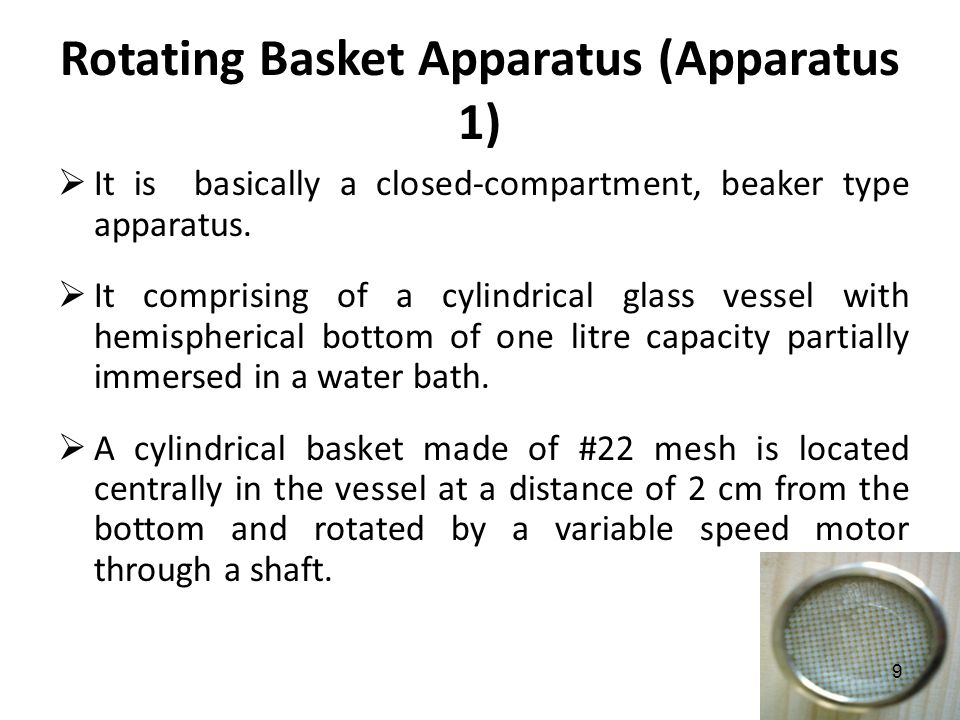Rotating Basket Apparatus (Apparatus 1)  It is basically a closed-compartment, beaker type apparatus.  It comprising of a cylindrical glass vessel w