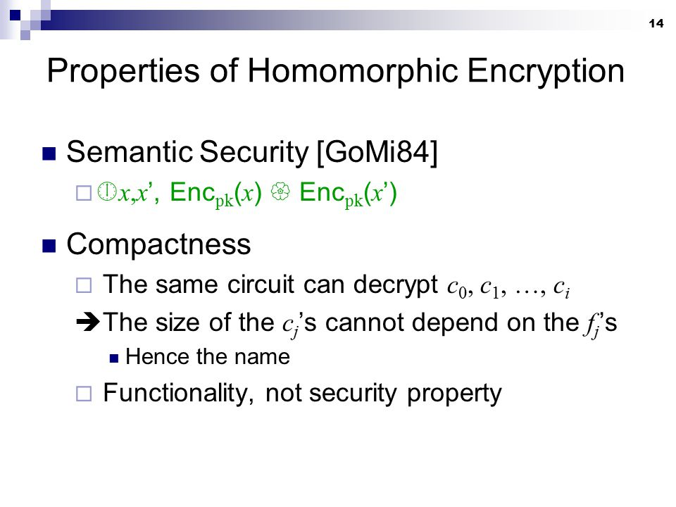 14 Properties of Homomorphic Encryption Semantic Security [GoMi84]   x,x ', Enc pk ( x )  Enc pk ( x ') Compactness  The same circuit can decrypt