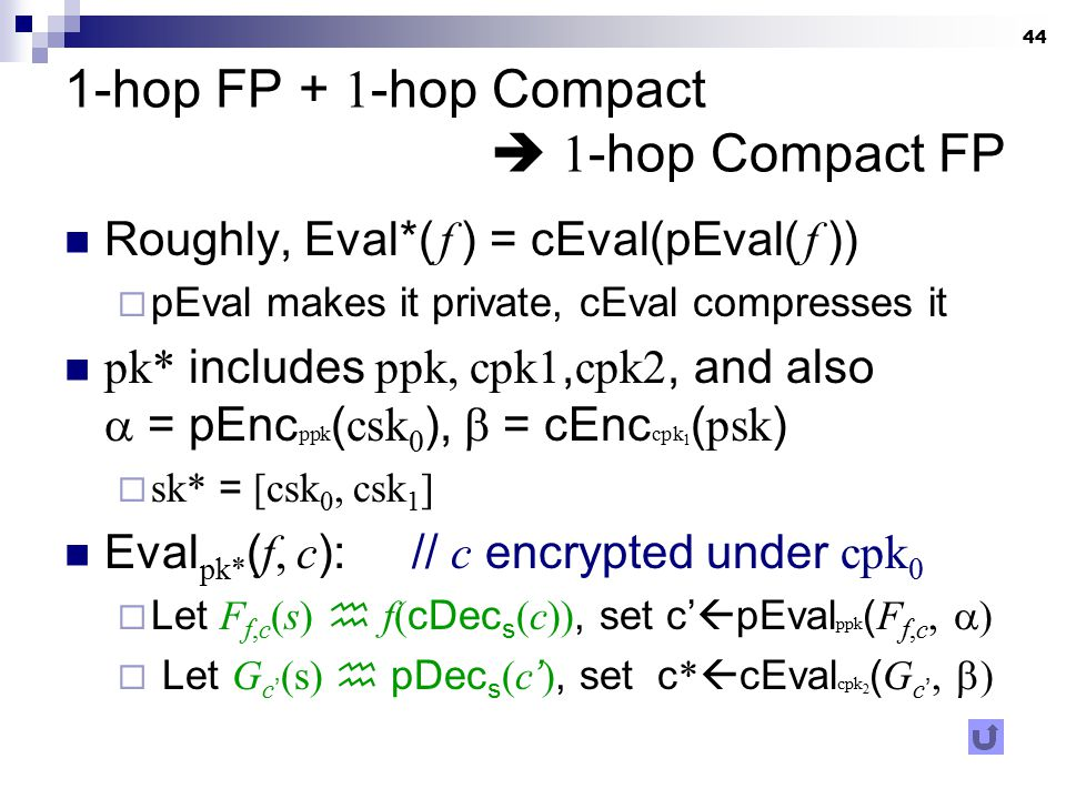 44 1-hop FP + 1 -hop Compact  1 -hop Compact FP Roughly, Eval*( f ) = cEval(pEval( f ))  pEval makes it private, cEval compresses it pk* includes pp