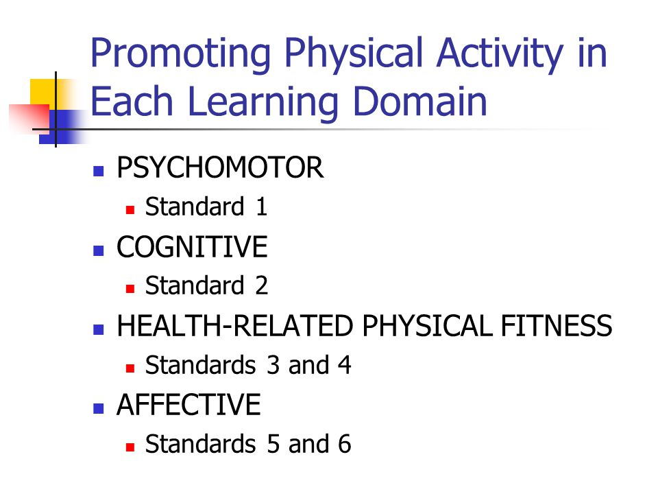 Promoting Physical Activity in Each Learning Domain PSYCHOMOTOR Standard 1 COGNITIVE Standard 2 HEALTH-RELATED PHYSICAL FITNESS Standards 3 and 4 AFFE