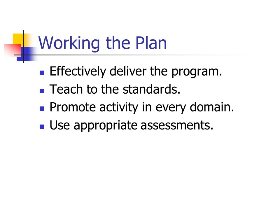 Working the Plan Effectively deliver the program. Teach to the standards. Promote activity in every domain. Use appropriate assessments.