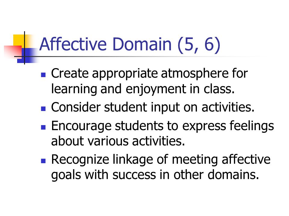 Affective Domain (5, 6) Create appropriate atmosphere for learning and enjoyment in class. Consider student input on activities. Encourage students to