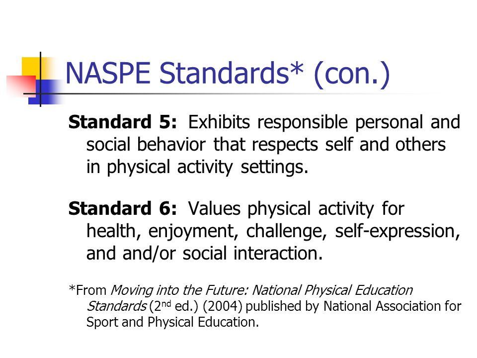 NASPE Standards* (con.) Standard 5: Exhibits responsible personal and social behavior that respects self and others in physical activity settings. Sta