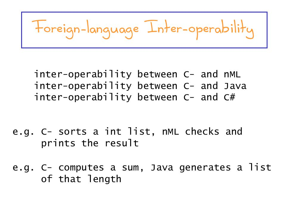 inter-operability between C- and nML inter-operability between C- and Java inter-operability between C- and C# e.g.