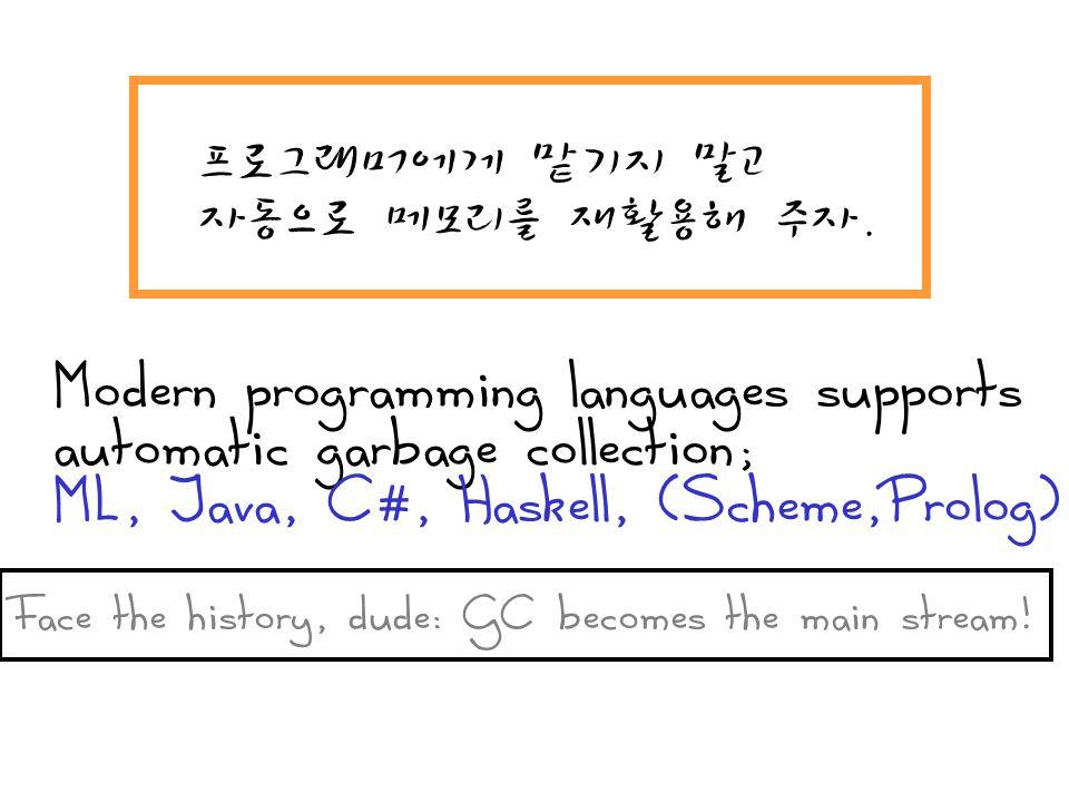 프로그래머에게 맡기지 말고 자동으로 메모리를 재활용해 주자. Modern programming languages supports automatic garbage collection; ML, Java, C#, Haskell, (Scheme,Prolog) Face the