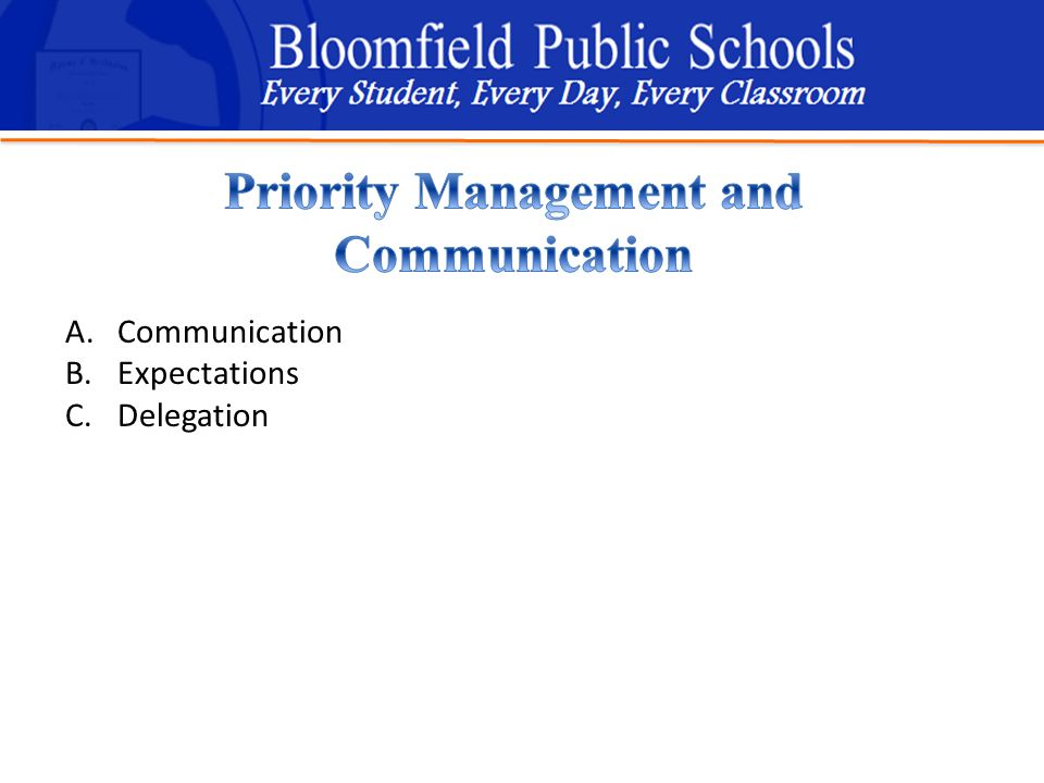 B loomfield Public Schools Learning and Growing Together A.Communication B.Expectations C.Delegation
