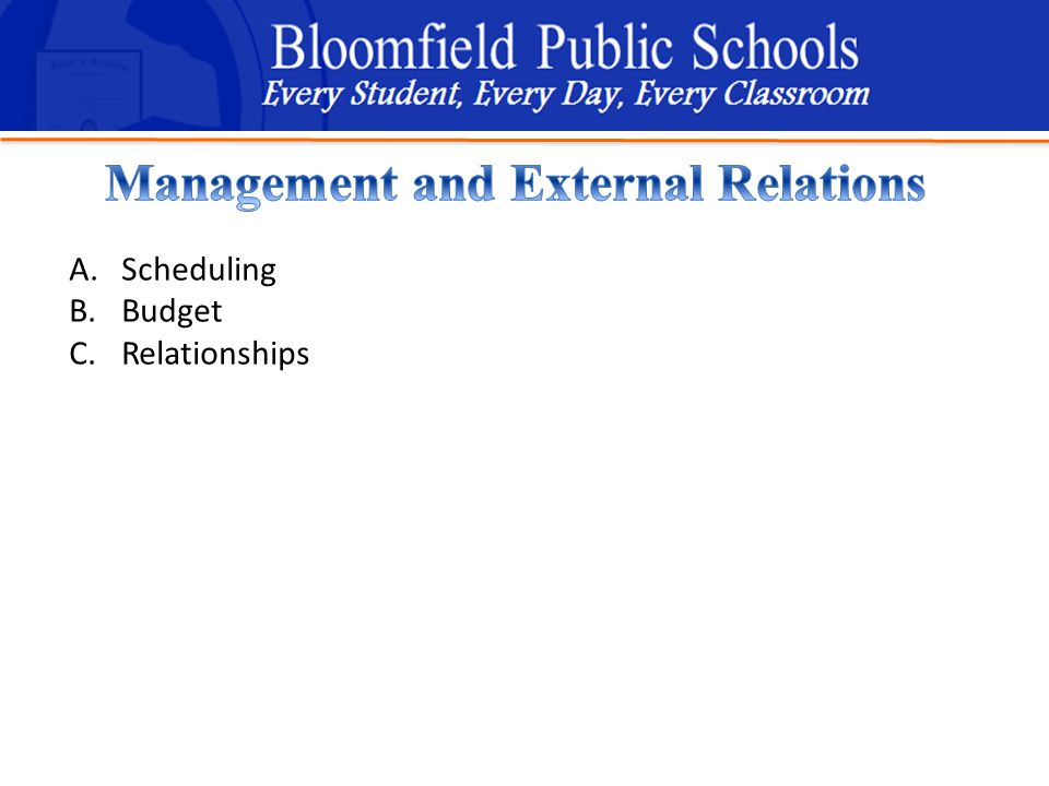 B loomfield Public Schools Learning and Growing Together A.Scheduling B.Budget C.Relationships