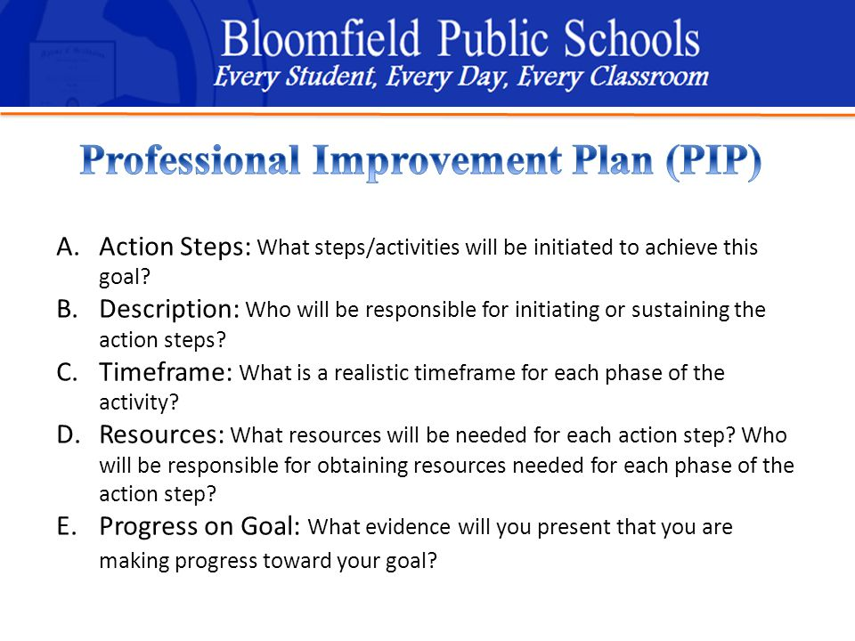 B loomfield Public Schools Learning and Growing Together A.Action Steps: What steps/activities will be initiated to achieve this goal.