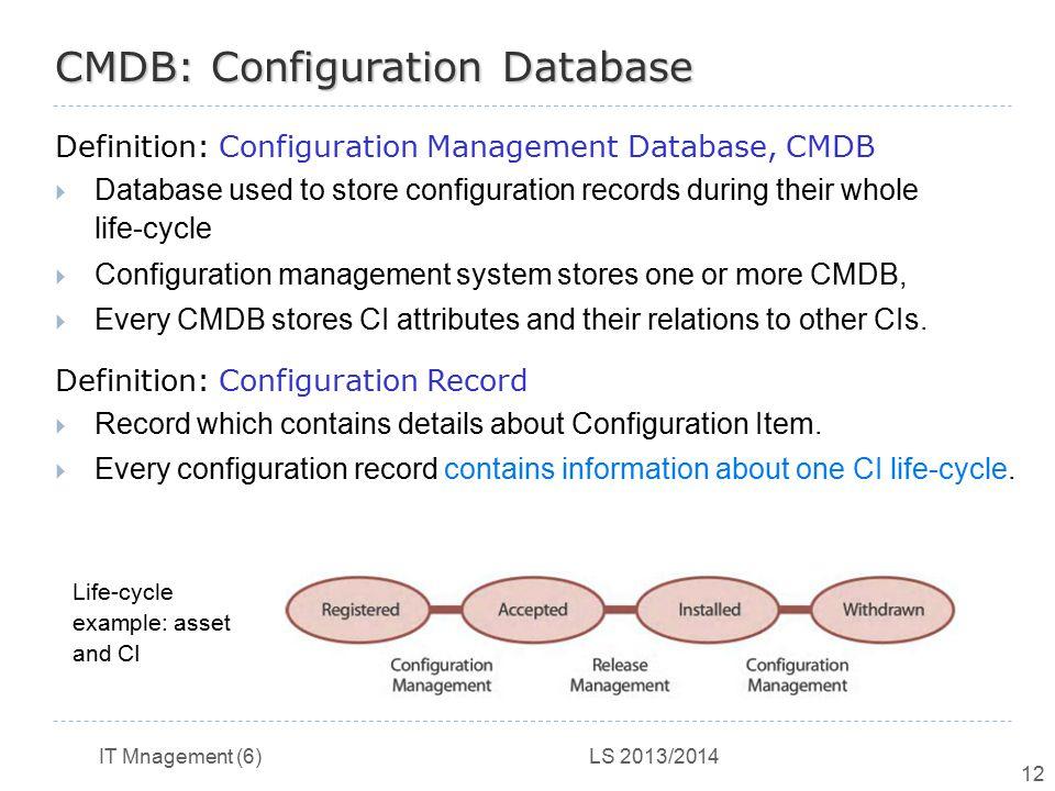 IT Mnagement (6) LS 2013/2014 12 CMDB: Configuration Database Definition: Configuration Management Database, CMDB  Database used to store configurati