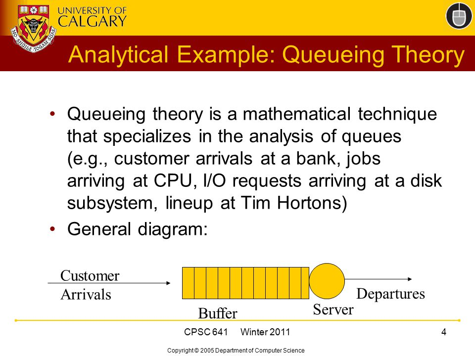 Copyright © 2005 Department of Computer Science CPSC 641 Winter 20114 Analytical Example: Queueing Theory Queueing theory is a mathematical technique