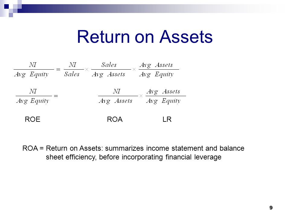 Return on Assets 9 ROAROE ROA = Return on Assets: summarizes income statement and balance sheet efficiency, before incorporating financial leverage LR