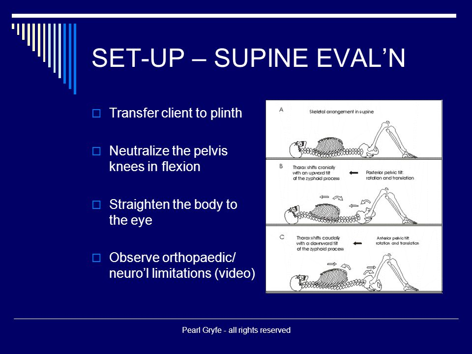 SET-UP – SUPINE EVAL'N  Transfer client to plinth  Neutralize the pelvis knees in flexion  Straighten the body to the eye  Observe orthopaedic/ neuro'l limitations (video) Pearl Gryfe - all rights reserved