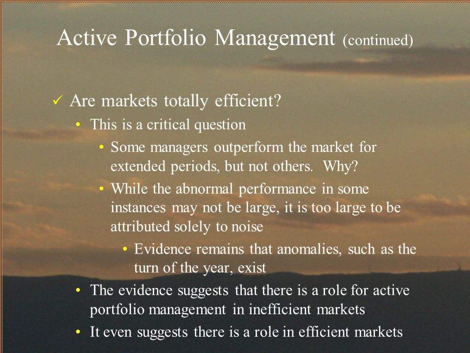 Active Portfolio Management (continued) What are abnormal returns.