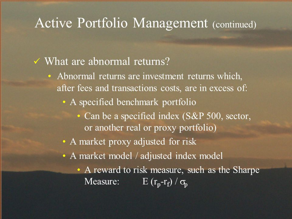 Active Portfolio Management (continued) What major factors lead to abnormal returns.