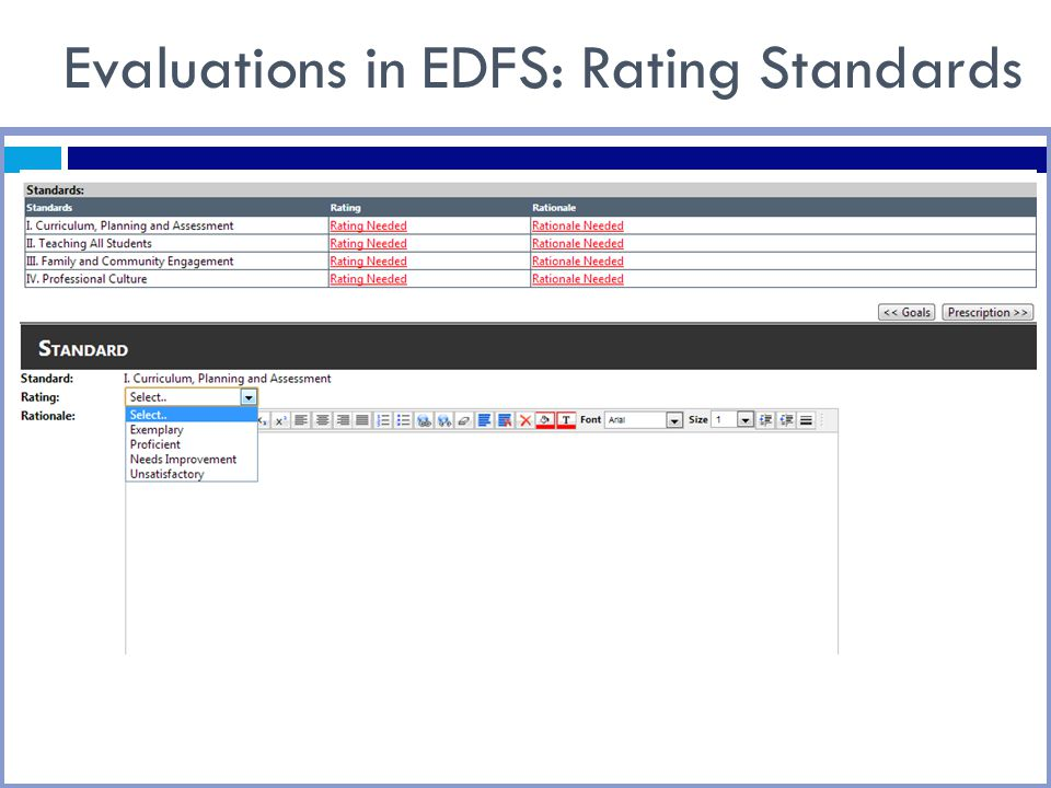 Evaluations in EDFS: Rating Standards