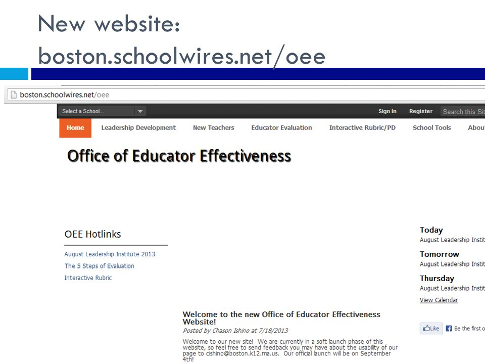 New website: boston.schoolwires.net/oee