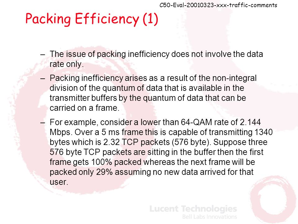 C50-Eval-20010323-xxx-traffic-comments Packing Efficiency (1) –The issue of packing inefficiency does not involve the data rate only.