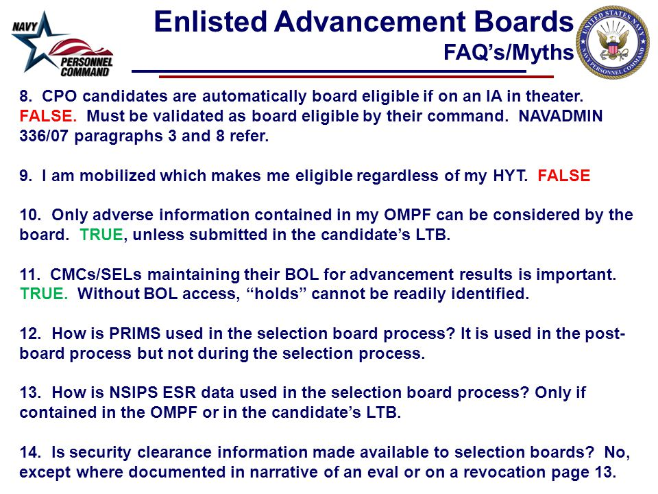 8. CPO candidates are automatically board eligible if on an IA in theater.