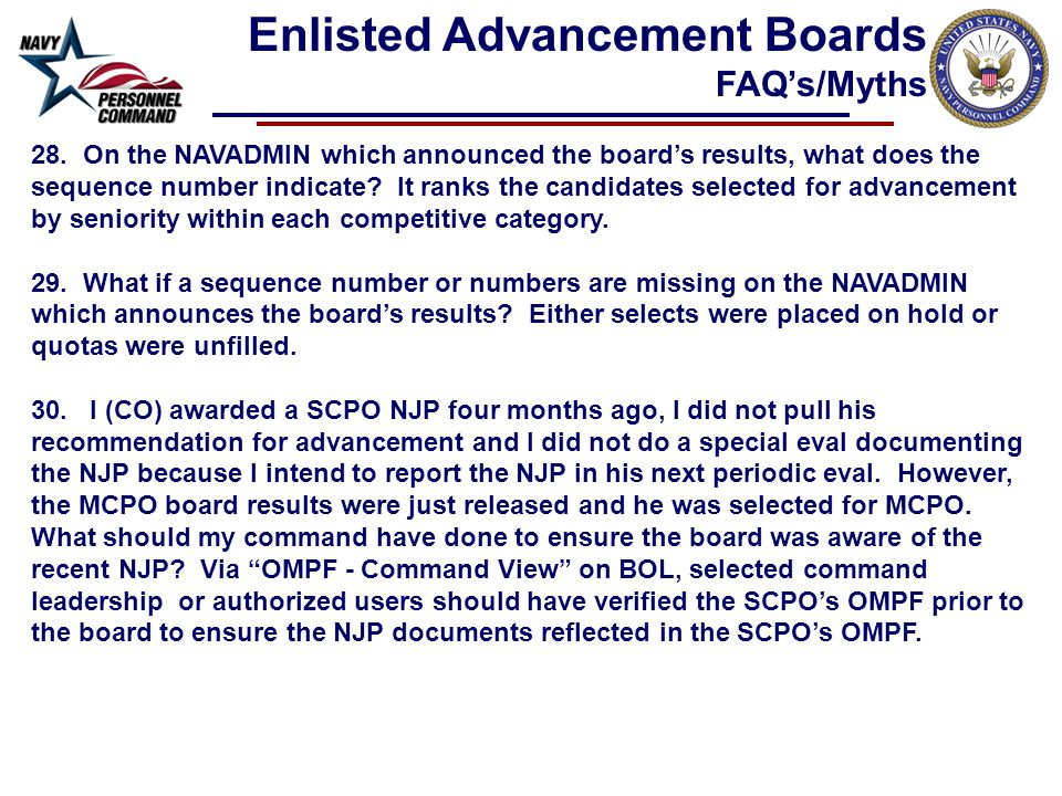 28. On the NAVADMIN which announced the board's results, what does the sequence number indicate.