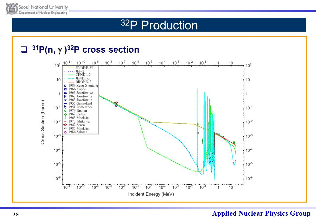 Applied Nuclear Physics Group 35 32 P Production  31 P(n,  ) 32 P cross section