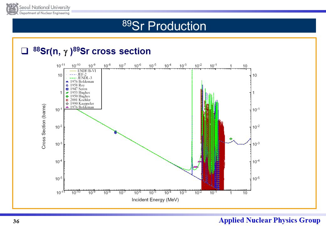 Applied Nuclear Physics Group 36 89 Sr Production  88 Sr(n,  ) 89 Sr cross section