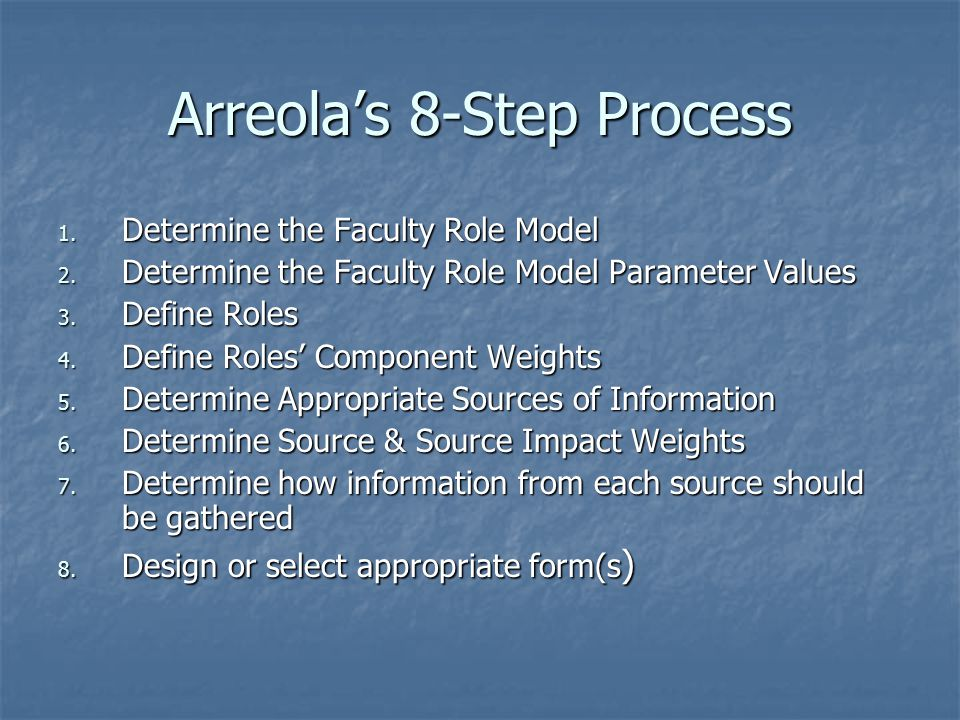 Arreola's 8-Step Process 1. Determine the Faculty Role Model 2.