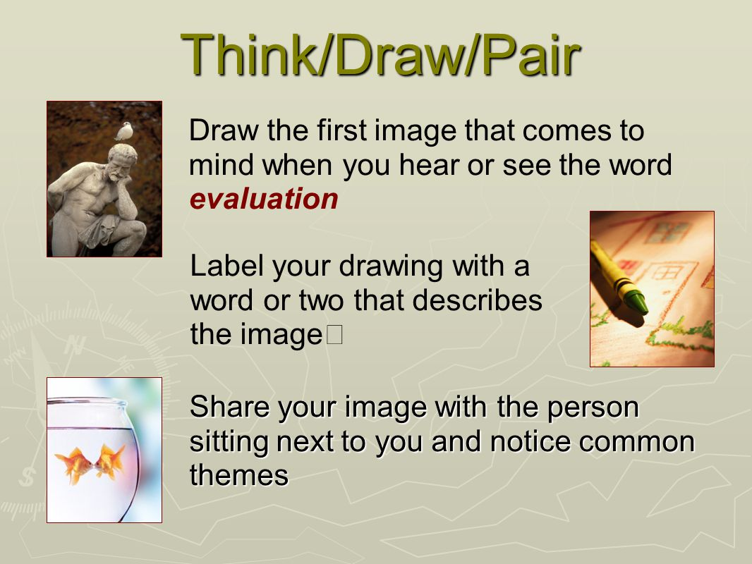 Think/Draw/Pair Share your image with the person sitting next to you and notice common themes Draw the first image that comes to mind when you hear or see the word evaluation Label your drawing with a word or two that describes the image