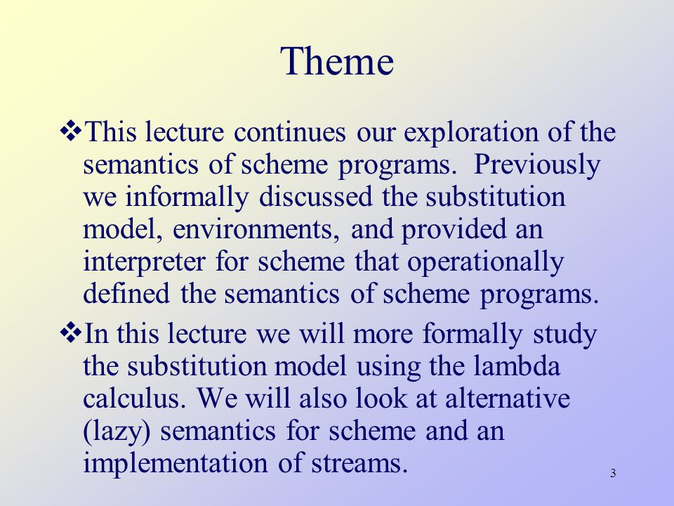 14 Scheme Interpreter: eval (define (eval exp env) (cond ((self-evaluating.