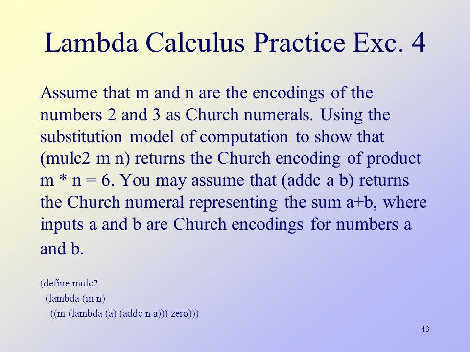43 Lambda Calculus Practice Exc.