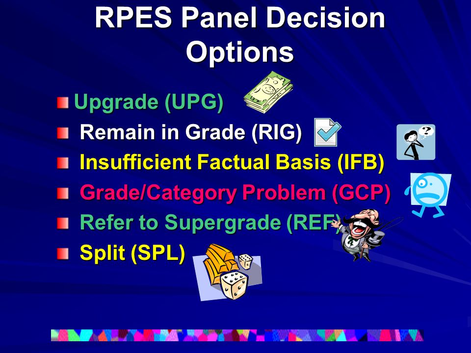 RPES Panel Decision Options Upgrade (UPG) Remain in Grade (RIG) Remain in Grade (RIG) Insufficient Factual Basis (IFB) Insufficient Factual Basis (IFB