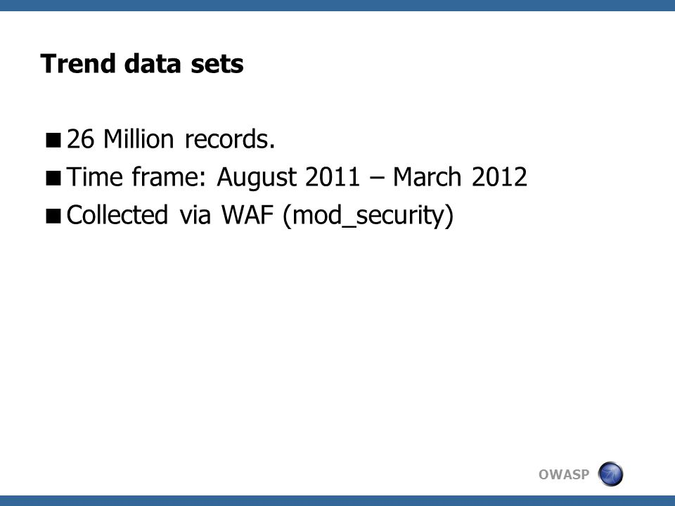 OWASP Trend data sets  26 Million records.