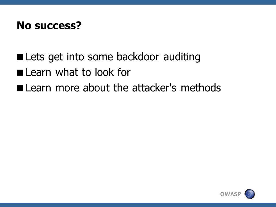 OWASP No success.