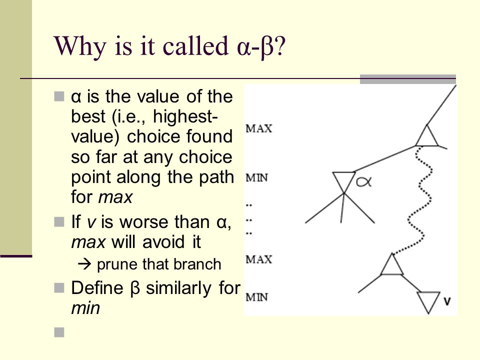 Why is it called α-β? α is the value of the best (i.e., highest- value) choice found so far at any choice point along the path for max If v is worse t