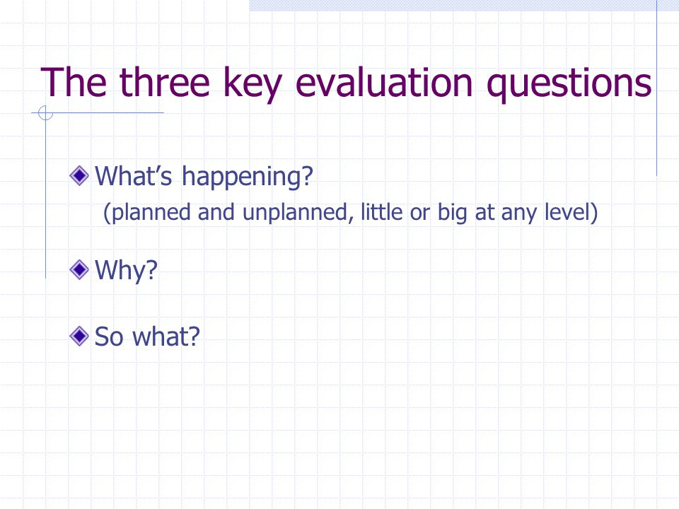 The three key evaluation questions What's happening? (planned and unplanned, little or big at any level) Why? So what?