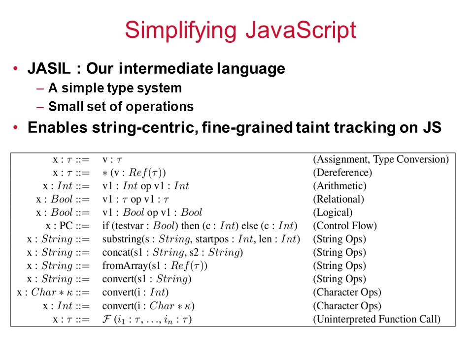 16 Simplifying JavaScript JASIL : Our intermediate language –A simple type system –Small set of operations Enables string-centric, fine-grained taint tracking on JS