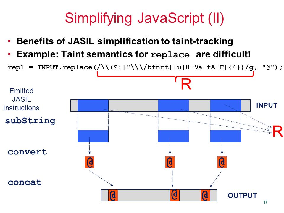 17 Simplifying JavaScript (II) Benefits of JASIL simplification to taint-tracking Example: Taint semantics for replace are difficult.