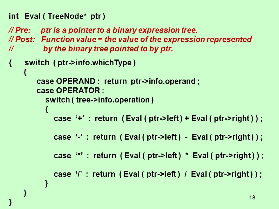 int Eval ( TreeNode* ptr ) // Pre: ptr is a pointer to a binary expression tree.