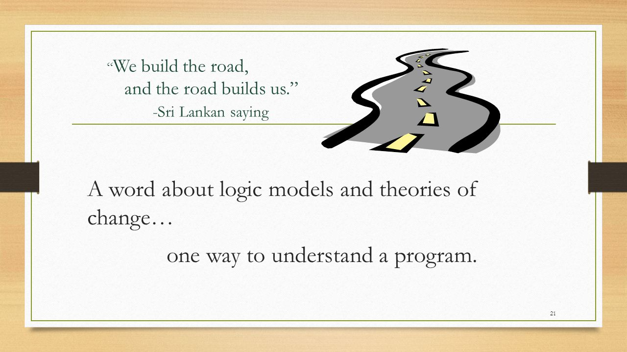 Simplest form of a logic model 22 INPUTSOUTPUTSOUTCOMES Results-oriented planning