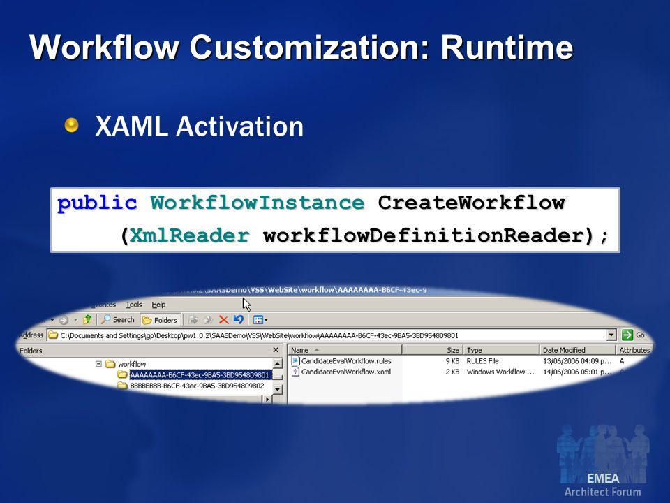 EMEA public WorkflowInstance CreateWorkflow (XmlReader workflowDefinitionReader); Workflow Customization: Runtime XAML Activation